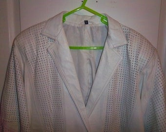 Vintage Mens White Leather Jacket SIZE SMALL