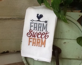 Farm Sweet Farm Flour Sack Kitchen Dish Towel