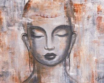 "Bouddha Acrylic painting - ""Soyons Zen"""