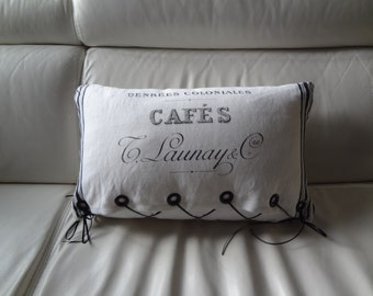 """Decorative Pillow 13"""" x 20""""/White with French Vintage """"Café"""" Lettering/Ribbon Ties for Removal and Easy Washing/Fiberfill Insert"""