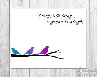 Three Little Birds Print - Nursery Art- Baby shower gift- Baby- Toddler- Nursery Decor- Room Decor- Printable Art- Download