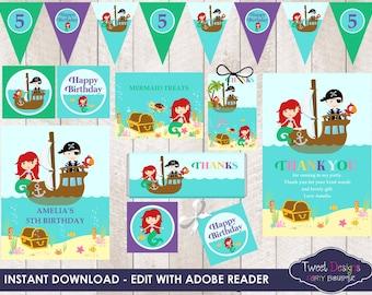 MERMAID AND PIRATE Invitation, Printable Birthday Invitation, Pirate and Mermaid Invitations, Mermaid Party, Mermaid and Pirate Invitations