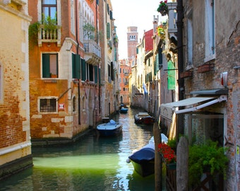 Travel Photography, Europe, Venice, Italy, Canals, Water, Color, Black and White