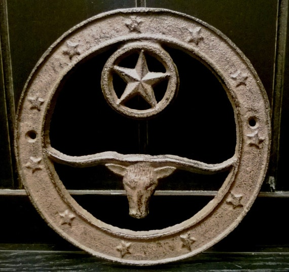 Vintage Star Wall Decor : Cast iron wall decor longhorn with texas by itsatexasthing