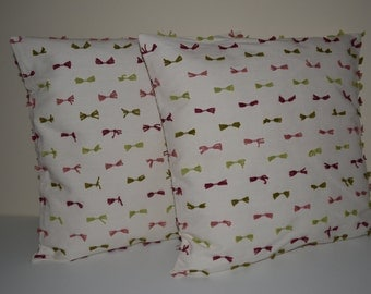 Set of two Pink Green Ribon Decorative Pillow Cover-16x16