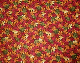 Autumn Leaves Red Orange Green Yellow (32531) Leaves Quilting Fabric by the 1/2 Yard