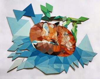 Painting on plywood. Fox