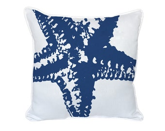 Navy Blue Starfish Silhouette Pillow - 18x18 - Blue, Starfish, Pillow Included, 1054P