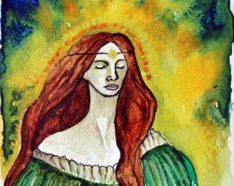 the Shining One - 15X21 Brigid, Celtic Goddess of Fire and Sacred Waters, watercolor Art Print