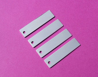"10 - 5052 Aluminum 1/2"" x 1 3/4"" Rectangle Blanks - ONE HOLE - Polished Metal Stamping Blanks - 14G 5052 Aluminum"
