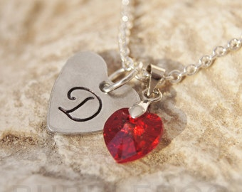 Personalised Swarovski heart necklace, with a choice of Elements birthstone charm heart.