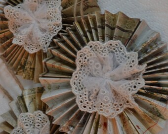 Paper and Lace, Vintage style ornament Set of 3 (A102)
