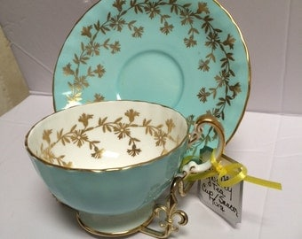 Vintage Aynsley English Tea Cup & Saucer Turquoise and Gold Flowers 1950's
