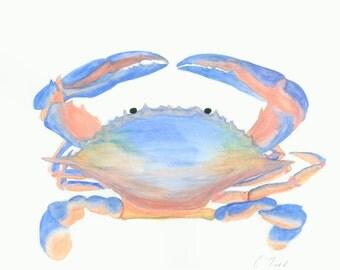 Crab Painting, Watercolor Print, Nautical