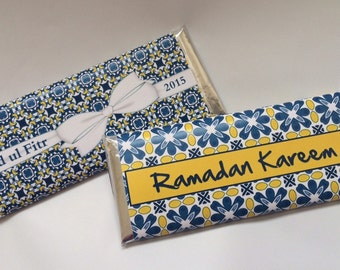 Moroccan party favors, Moroccan paper, white and blue, arabian party, personalized candy wrappers, Moroccan tiles, blue and white, 24 ct.