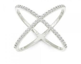 Sterling silver criss cross rings, criss cross ring, silver criss cross ring, X cross ring, CZ criss cross ring, crisscross ring, X rings.