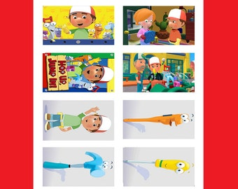 8 Printed Handy Manny Stickers, Birthday Party Favors