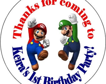 Super Mario Luigi  Birthday Party Stickers 2.5 inch Round Personalized kids