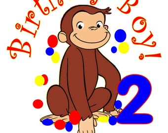Curious George Monkey Personalized Birthday Party T Shirt Tee Boys Girls 1st 2 3 4 5 6 7 8 9