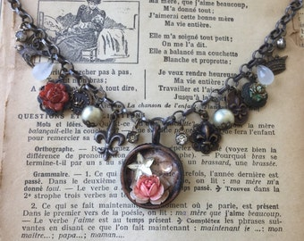 French Vintage Charm Necklace with Rose and Star Pendant