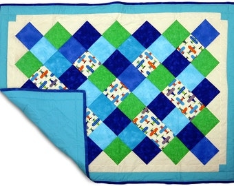 Airplane baby shower gift- Baby quilt blanket, Baby quilt boy,quilted baby blanket quilt, crib quilt, playmat, crawling mat baby shower gift