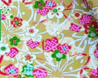 22 inch x 16 inch (58cm x 42cm) washi origami yuzen paper, flowers on dark khaki 453
