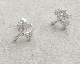 Beautiful CZ crystal Little Tree Sterling Silver Stud Earrings e7