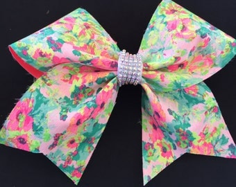 FUN Super Bright Neon Floral Cheer Bow with BBM Signature AB Crystal Rhinestone Detail