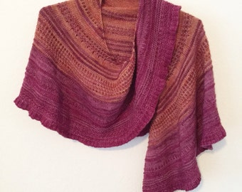 Autumn wine hand knit shawl oversized striped luxury scarf one of a kind. Madelinetosh yarn