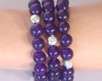 Jade purple and silver bracelet solid 925