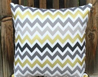 Pillow, chevron, decorative pillow, metallic gold