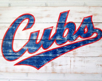 Rustic Chicago Cubs Reclaimed Whitewashed Wooden Baseball Sign