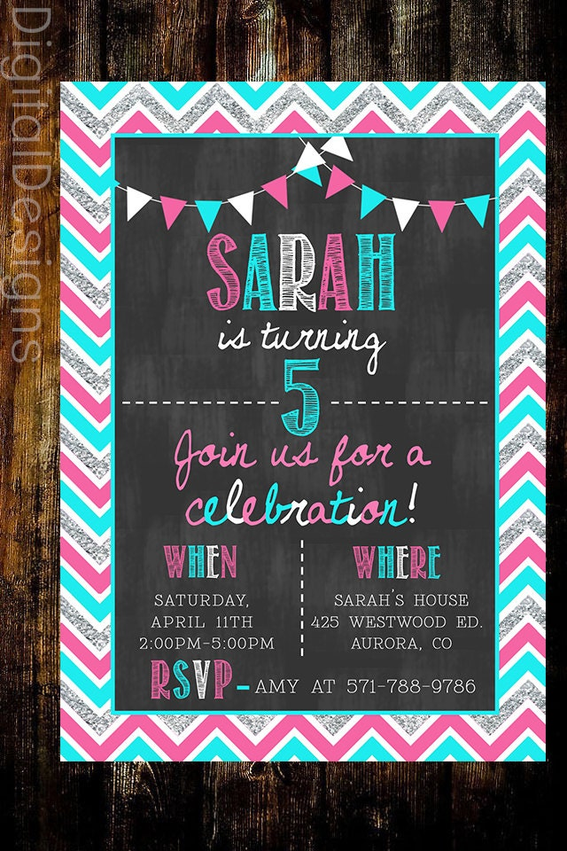 chevron chalkboard birthday invite girl first birthday invite girl
