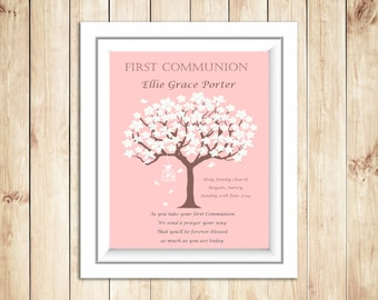 Personalized Holy Communion Tree & Bird Cage Print