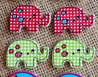 Pack of 8 brightly coloured Elephant Buttons (# 0 22)
