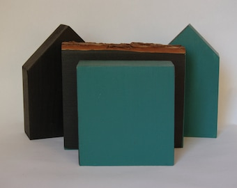 Chalkboard blocks, wooden houses, Set of 4