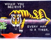 Vintage Velvet Tiger Painting