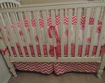 Hot Pink Dandelions and Chevron Baby Bedding Set
