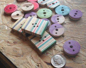 Recycled Skateboard Buttons