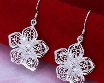 Sterling silver Flower petal Earrings Free Shippinh