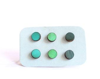 Tiny Stud Earrings, Set of 3 Earrings, Green Earrings, Surgical Steel Earrings