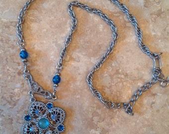 Rhinestone medallion necklace