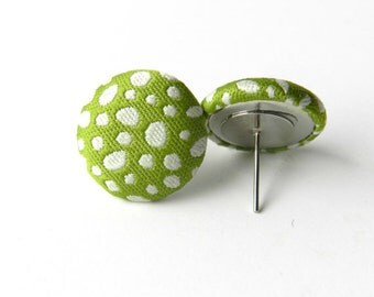 WASABI- green and white fabric brad earrings