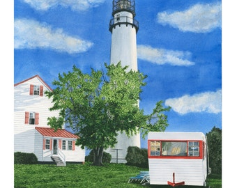 Fenwick Island, DE Lighthouse - Art Print, Watercolor Painting, Beach wall art, Christmas gift ideas