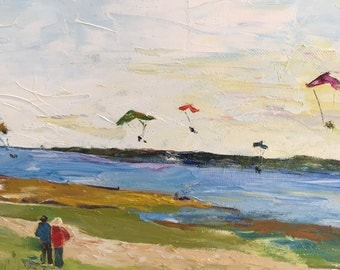 "Original oil painting, fine art impasto impressionism, ""Kite Surfing and Dog Walking"""