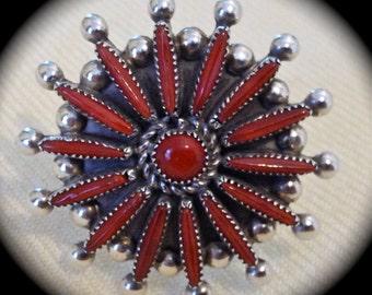 Pretty Handmade Vintage Zuni Lance & Cordelia Waatsa Needlepoint Petit Point Red Coral Ring MINT Sz 6.75