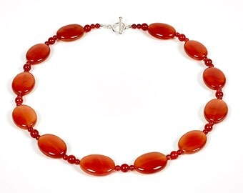 """Autumn - 18.5"""" necklace of cornelian and sterling silver"""