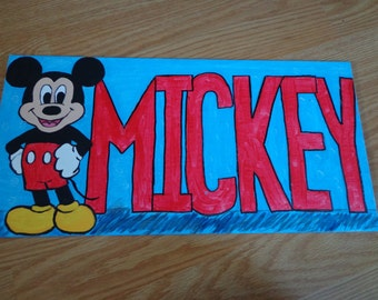 "Hand-painted Micky Mouse wall hanging or magnet - 8"" x 16"" canvas board"