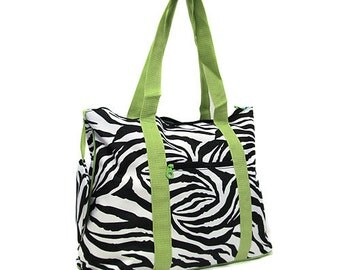 Green Zebra large Tote bag for craft supplies or travel lots of pockets organizer