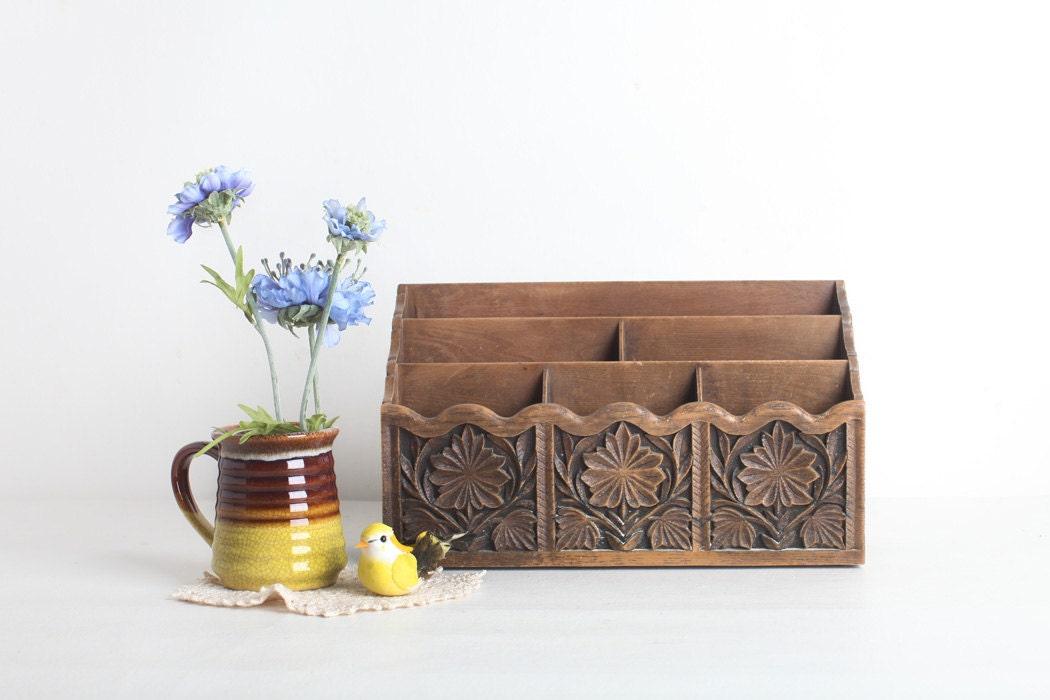 Original Vintage Wooden And Metal Desk Organizer By